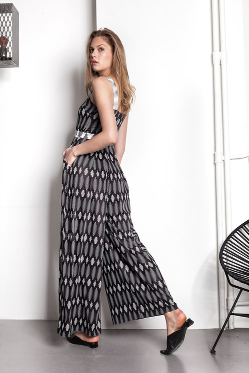 B&W lines exclusive printed wide leg jumpsuit