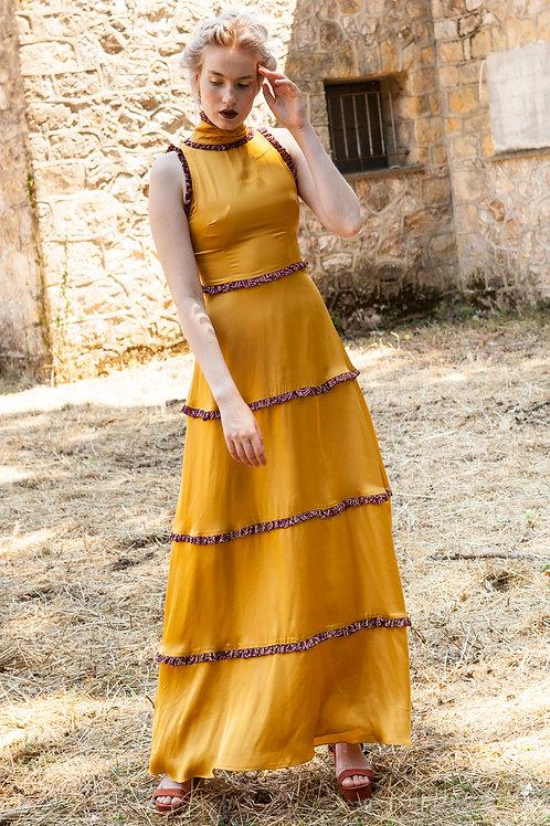 Xanthe ruffled high neck dress