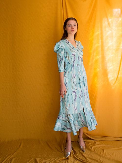 Cindy puff sleeve button dress