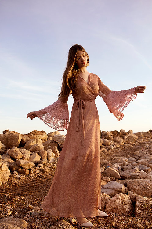 Juno ruffled sleeve wrap dress