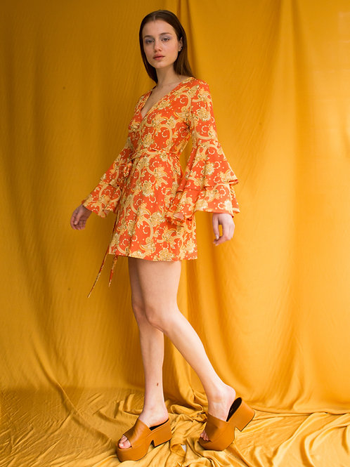 Carol ruffled sleeve mini dress