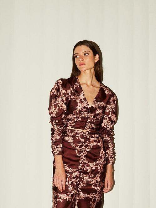 Valentina draped burgundy top