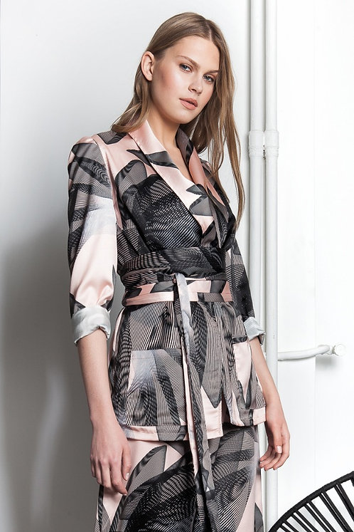 Geometric floral exclusive printed satin blazer