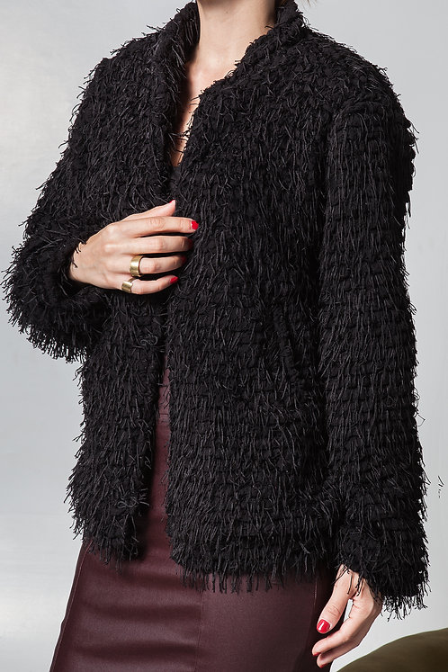 Erebus Crossed Faux Fur Jacket