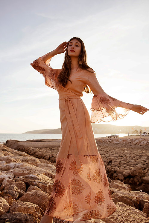 Linza ruffled sleeve wrap dress