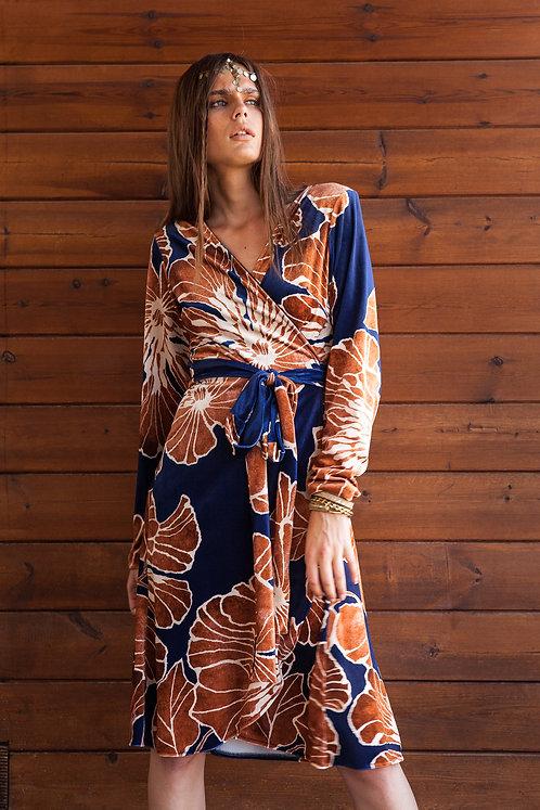 Elizabeth velvet printed wrap dress