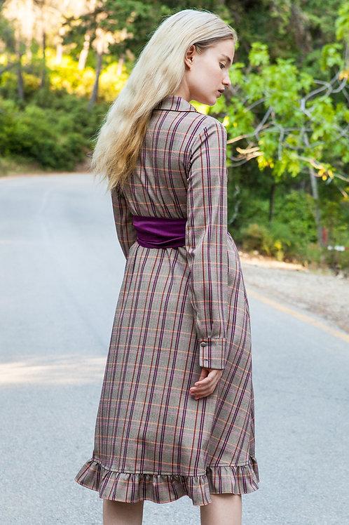 Doris ruffled plaid dress