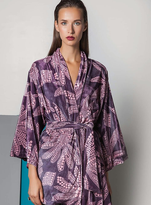 Antheia  printed velvet kimono