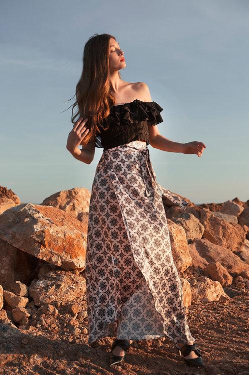 Bouinat satin wrap skirt