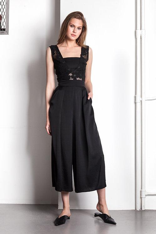 Embroidered black flower jumpsuit