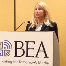Madeleine Liseblad presenting at the Broadcast Educaion Association's yearly conference.