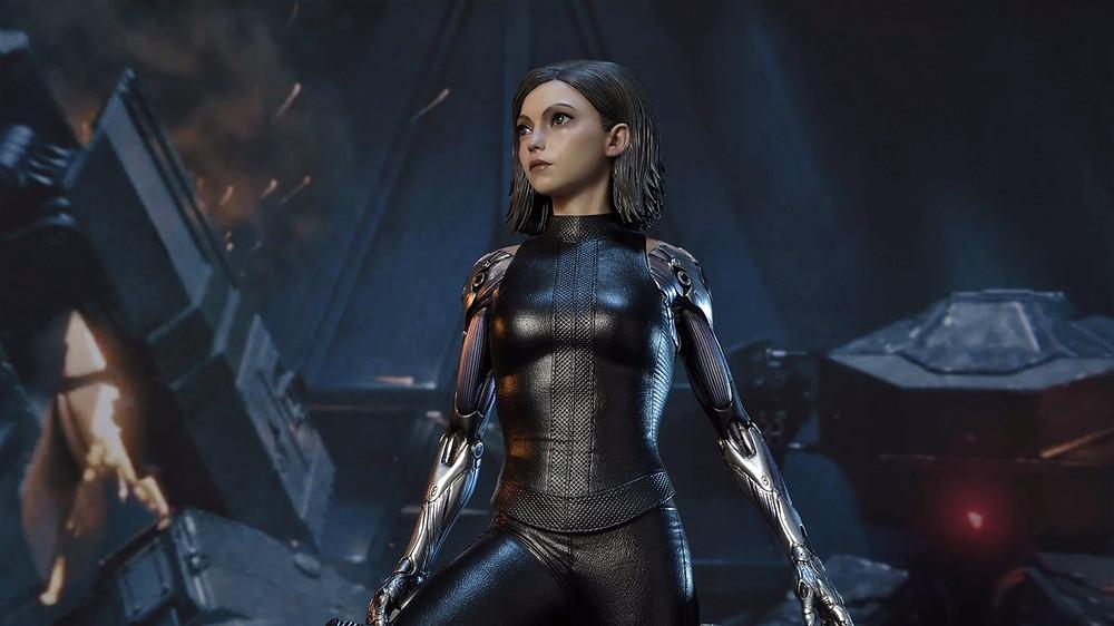 Nesta imagem se encontra a personagem Alita: Anjo de Combate, para anunciar seu retorno aos cinemas no mês de Outubro.