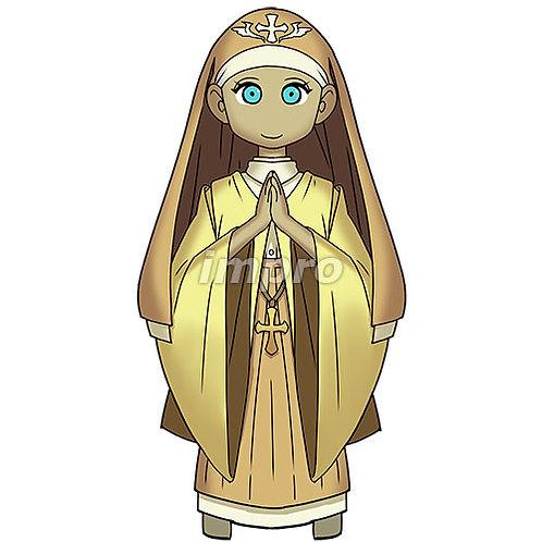祈る修道士の女性(影あり)