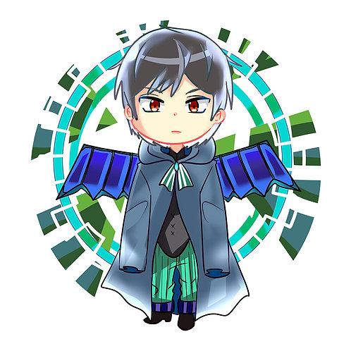 魔法使い学生男の子翼付きイラスト