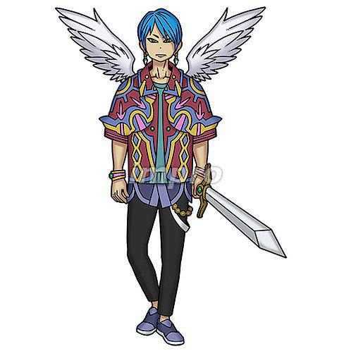 お洒落な天使の若者(影あり)