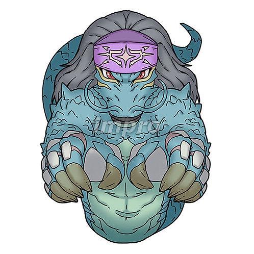 紋章のバンダナを付けた竜(影あり)