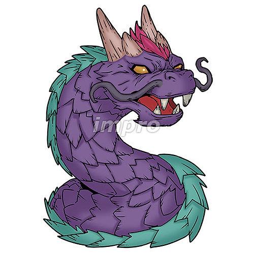 鋭い鱗のワームドラゴン(影あり)