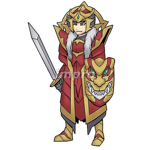 和風の甲冑を着た戦士(影あり)