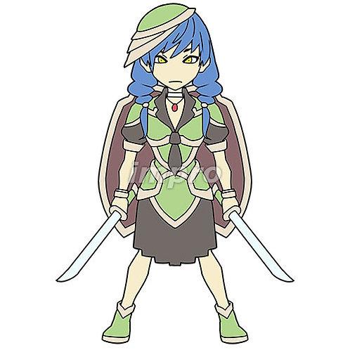 盾を背負った双剣の女性