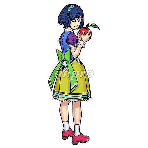 リンゴを手にする少女(影あり)