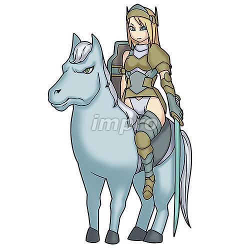 馬に乗った女騎士(影あり)
