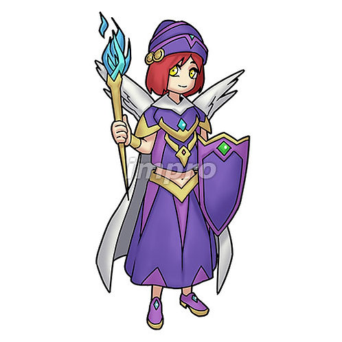 魔法のたいまつを持つ少女(影あり)