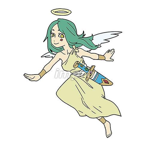 空を飛ぶ笑顔の天使