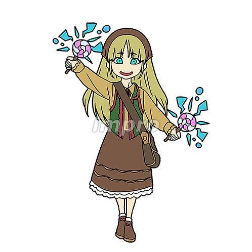 お菓子を持った村の少女