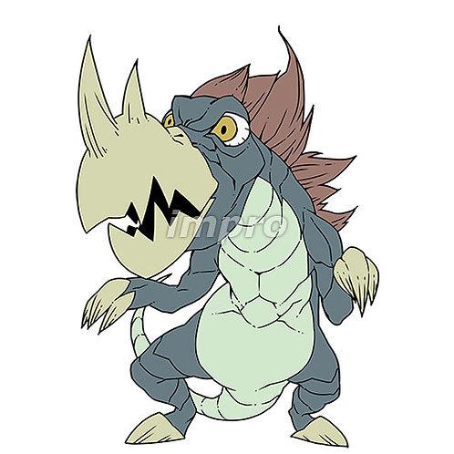 鋭い角を持つ二足歩行の恐竜