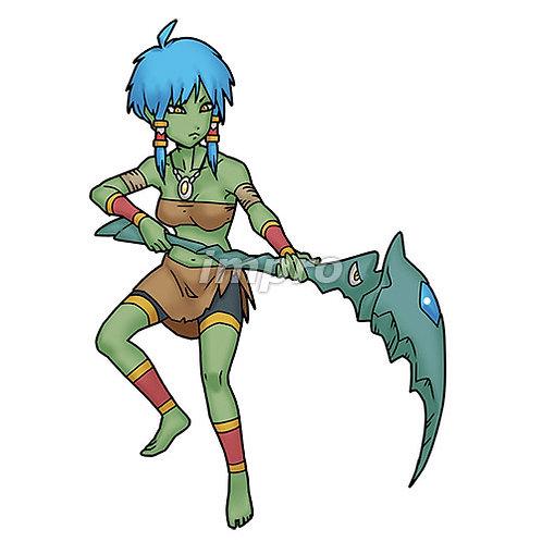 鎌を持つ部族の少女(影あり)