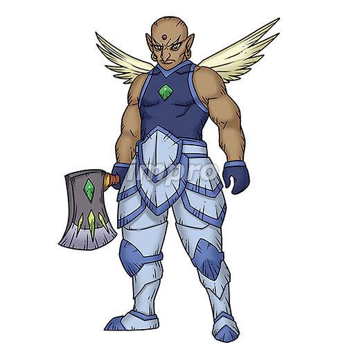 斧を持つ筋肉質の天使(影あり)