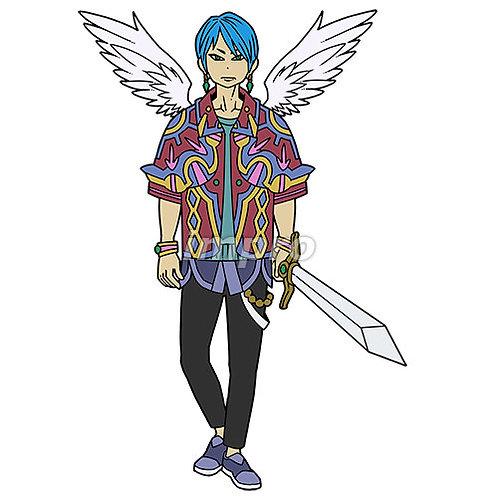 お洒落な天使の若者
