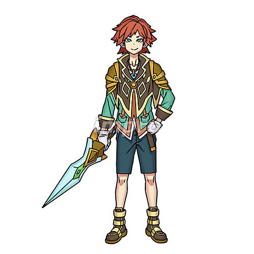 冒険を楽しむ剣士の少年(影あり)