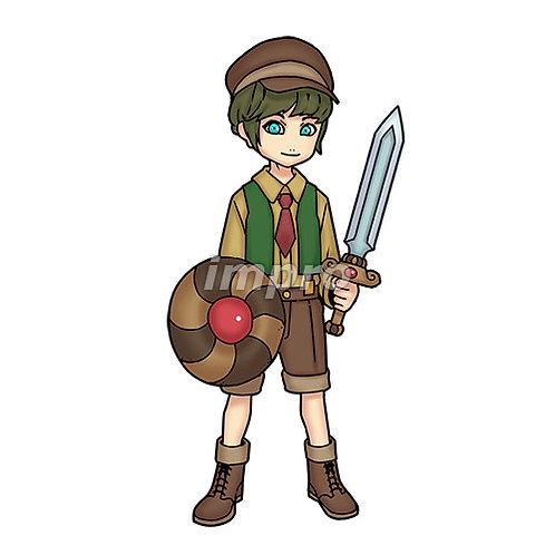 勇敢な村の少年(影あり)