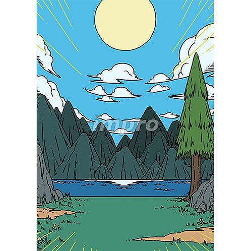 晴れた朝の湖