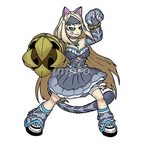 猫と融合した金属アームの女性(影あり)