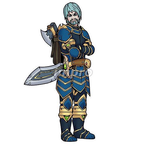 戦いに備えた熟練の騎士(影あり)