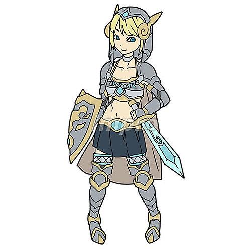 逆手で剣を持つ鋼鎧の女性
