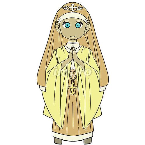 祈る修道士の女性