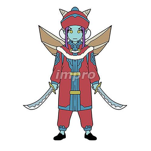 双剣の民族衣装の悪魔