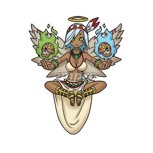 不気味なお面を操る褐色天使(影あり)