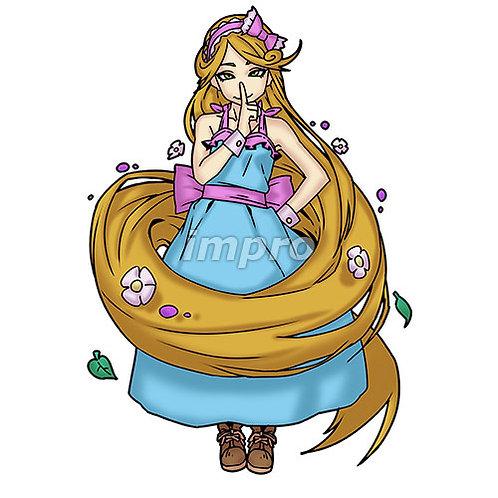 長髪を自在に操る女性(影あり)