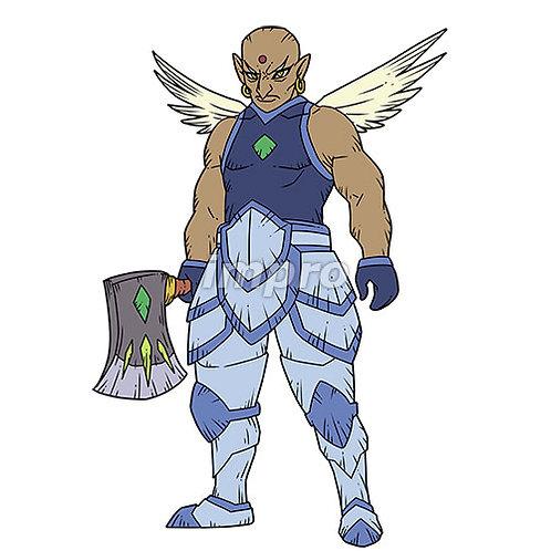 斧を持つ筋肉質の天使