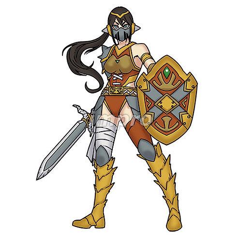 マスクをした女騎士(影あり)