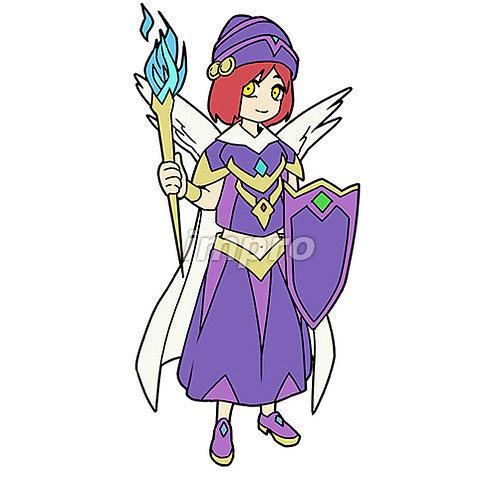 魔法のたいまつを持つ少女
