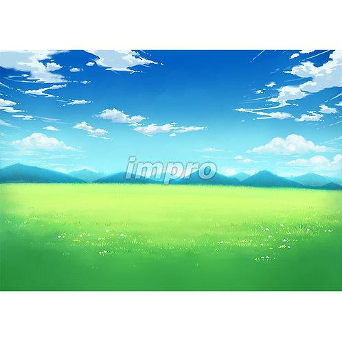 澄んだ空の大草原(ワイド)