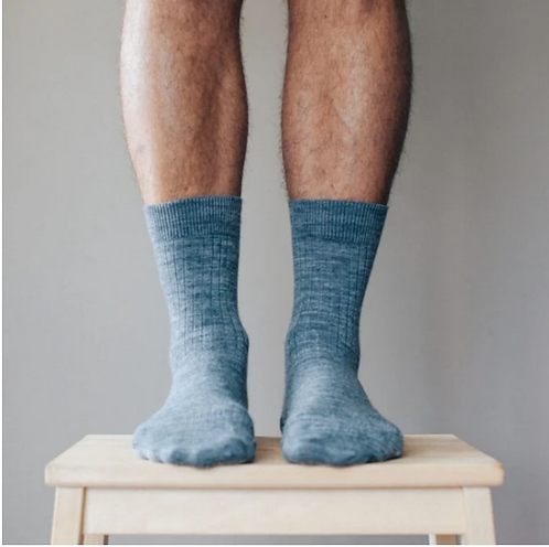 Grey - Merino Wool Crew sock - Mens.