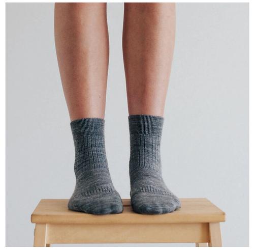 Grey - Merino Wool Crew sock - Womens.
