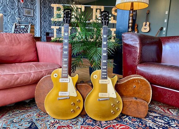 SOLD! - 1954 + 1955 Gibson Les Paul All Gold Goldtop's w/ original Wraparound