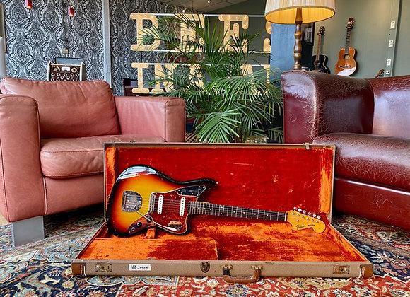 SOLD! - 1962 Fender Jaguar Slab Board Sunburst refin w/OHSC